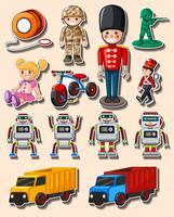 Conception d'autocollant avec différents jouets et camions vecteur