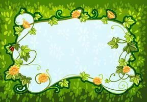 Bordure design avec des fleurs et des insectes vecteur