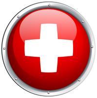 Drapeau de la Suisse en icône ronde vecteur