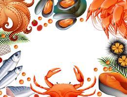 Modèle de frontière avec différents types de fruits de mer