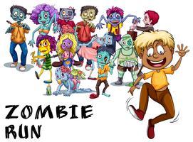 Beaucoup de zombies chassant l'homme