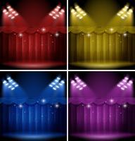 Modèle de fond avec des rideaux de couleurs différentes