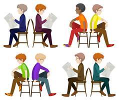 Hommes sans visage assis