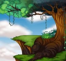 Grand arbre sur la falaise vecteur
