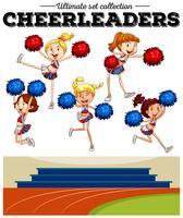 Cheerleaders acclamant sur le terrain vecteur