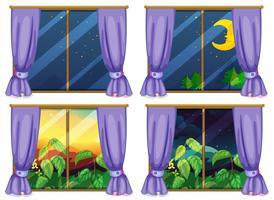 Quatre scènes de fenêtre jour et nuit vecteur