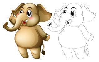 Contour animalier pour éléphant mignon vecteur