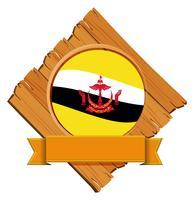 Drapeau de Brunei sur planche de bois vecteur