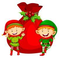 Thème de Noël avec deux lutins et un sac rouge vecteur