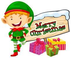 Thème de Noël avec lutin et signe de Noël vecteur