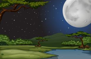 Scène nature nuit de pleine lune