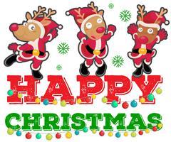 Thème de Noël avec trois rennes dansant vecteur
