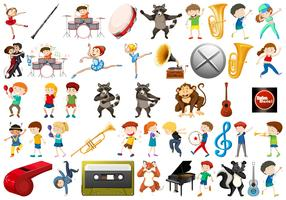 Ensemble d'éléments musicaux vecteur