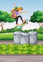 Scène avec une fille sur une planche à roulettes dans le parc vecteur