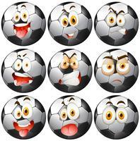 Ballon de foot avec des expressions faciales