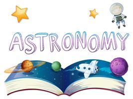 Livre d'astronomie avec des planètes et un astronaute