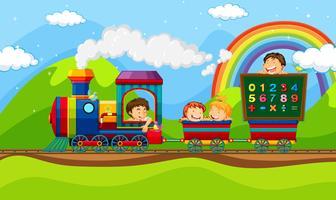 Enfants à bord du train