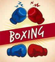 Gants de boxe et bannière vecteur