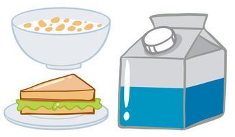 Set de petit déjeuner avec des céréales et du lait vecteur