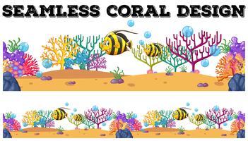 Récif corallien sans soudure et poissons sous l'eau