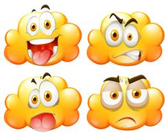 Nuages jaunes avec des expressions faciales
