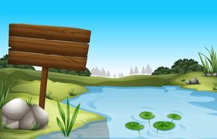 Un panneau vide près de l'étang vecteur