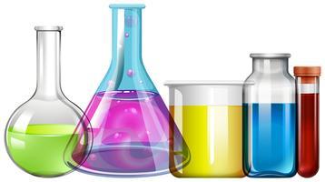 Béchers en verre avec liquide coloré vecteur