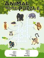 Conception de jeu pour puzzle de mot animal