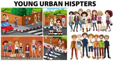 Scènes de ville et jeunes hipsters urbains vecteur