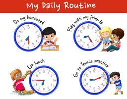 Routine quotidienne de nombreux enfants avec des horloges