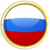 Drapeau de la Russie sur le bouton rond vecteur