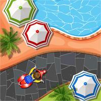 Scène aérienne avec piscine et parc vecteur