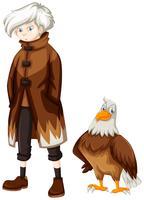 Aigle sauvage et garçon aux cheveux blancs