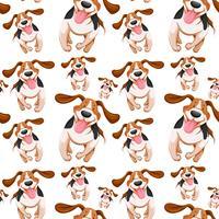 Design de fond sans couture avec petits chiens vecteur