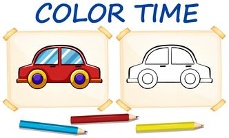 Modèle de coloration avec voiture vecteur