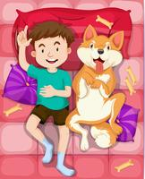 Garçon et chien qui dort sur le lit