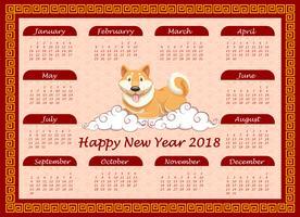 Modèle de calendrier avec chien mignon sur les nuages