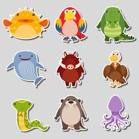 Conception d'autocollant avec différents types d'animaux