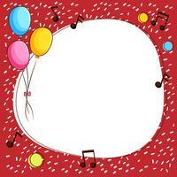 Modèle de bordure avec des ballons et des notes de musique vecteur