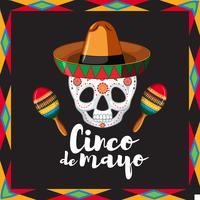 Modèle de carte Cinco de Mayo avec une tête de mort portant un chapeau