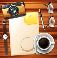 Papier vierge et café chaud vecteur