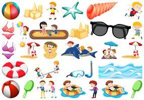 ensemble d'objets de plage