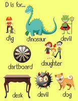 Mots différents pour la lettre D