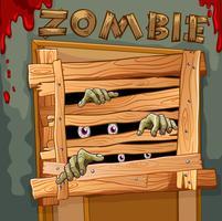 Zombie derrière la porte en bois