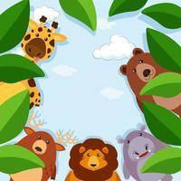 Modèle de bordure avec des animaux et des feuilles