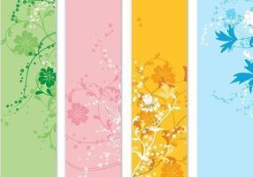 Pack de quatre bannières floral Vector