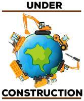Affiche en construction avec des machines sur terre vecteur