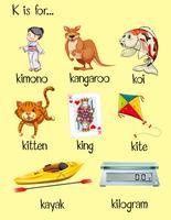 Beaucoup de mots commencent par la lettre K vecteur