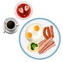Petit déjeuner avec des œufs et du thé