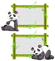 Deux cadres de bambou avec panda mignon